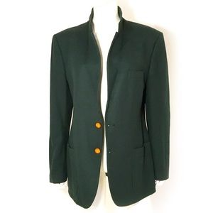 VTG HALSTON dark hunter green wool blazer, unisex